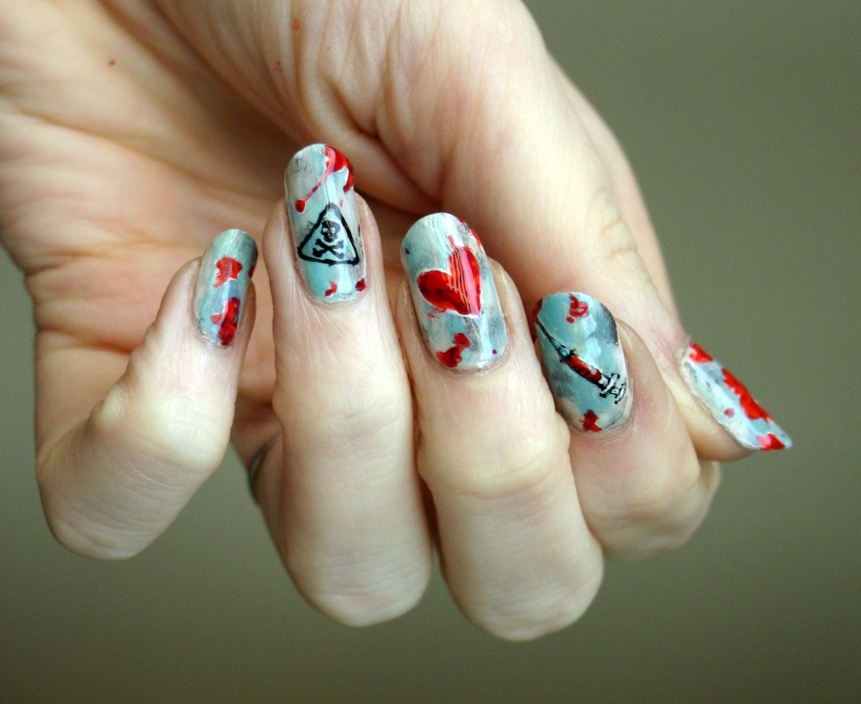 Love is the drug, or as close as I get to Valentine's Day nails.