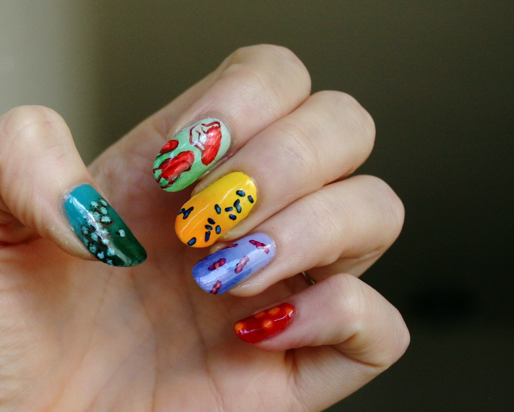 These were my Thanksgiving nails: foodborne illness. From pinky to thumb, the top five foodborne pathogens in the U.S.: Staphylococcus aureus (#5), Campylobacter (#4), Clostridium perfringens (#3), Salmonella (#2), and norovirus (#1). No one wanted me to touch their food.